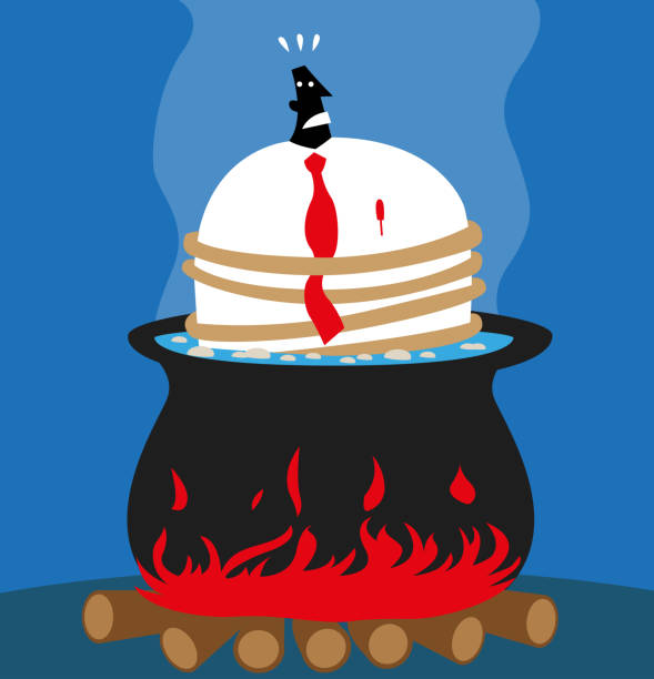 ilustrações de stock, clip art, desenhos animados e ícones de businessman in a bad situation - fail cooking