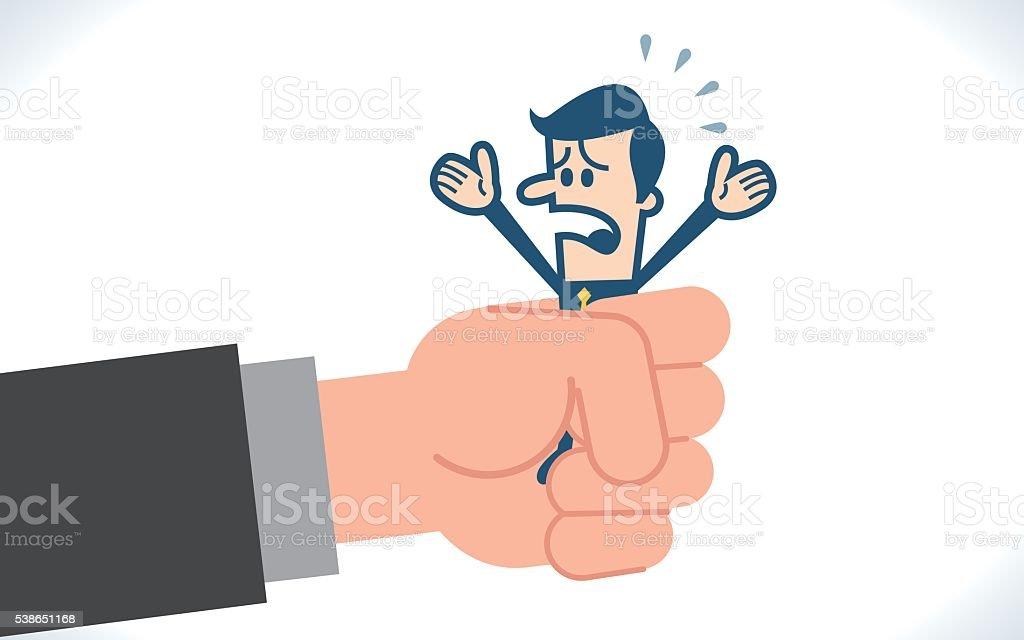 Businessman in a big hand vector art illustration