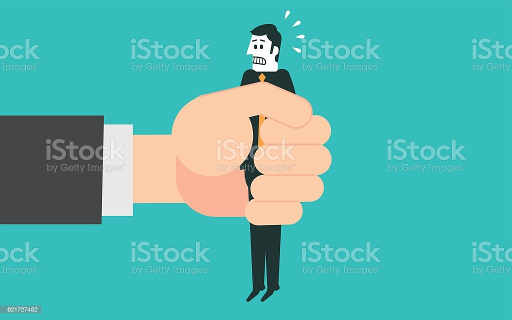 Businessman in a big hand vector art illustration
