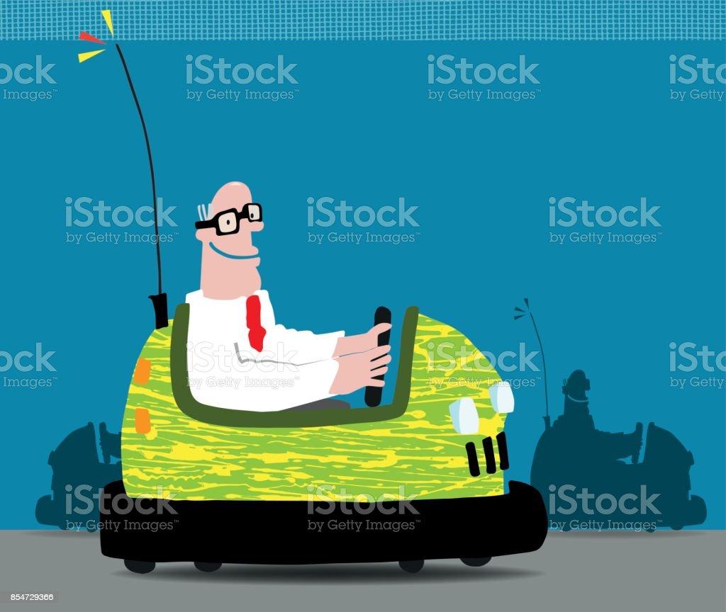 Empresario en un coche de parachoques - ilustración de arte vectorial