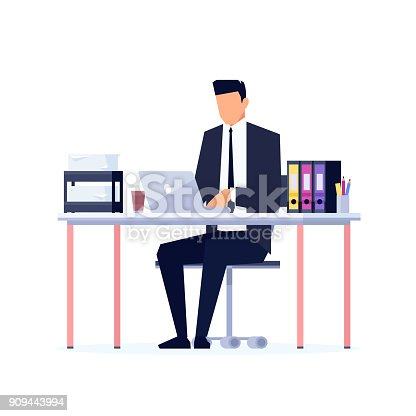 istock Businessman in a flat style isolated on white background. 909443994