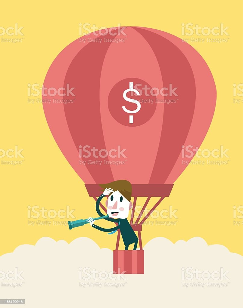 Businessman in a hot air balloon looking with a telescope. royalty-free stock vector art