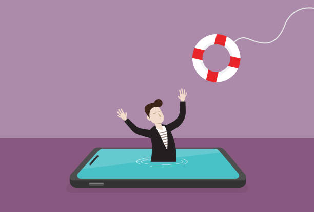 businessman in a mobile phone and lifebuoy - social media stock illustrations