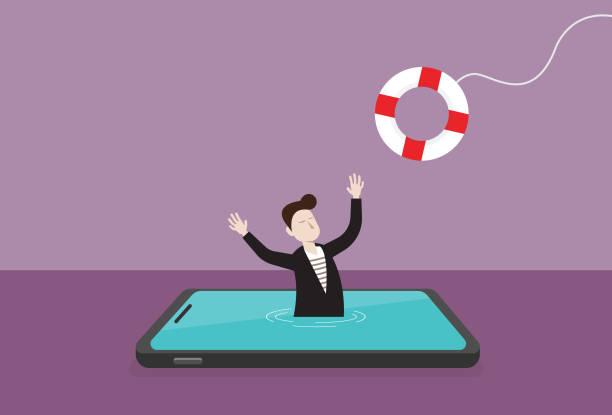 ilustrações, clipart, desenhos animados e ícones de homem de negócios em um telefone móvel e em um lifebuoy - social media