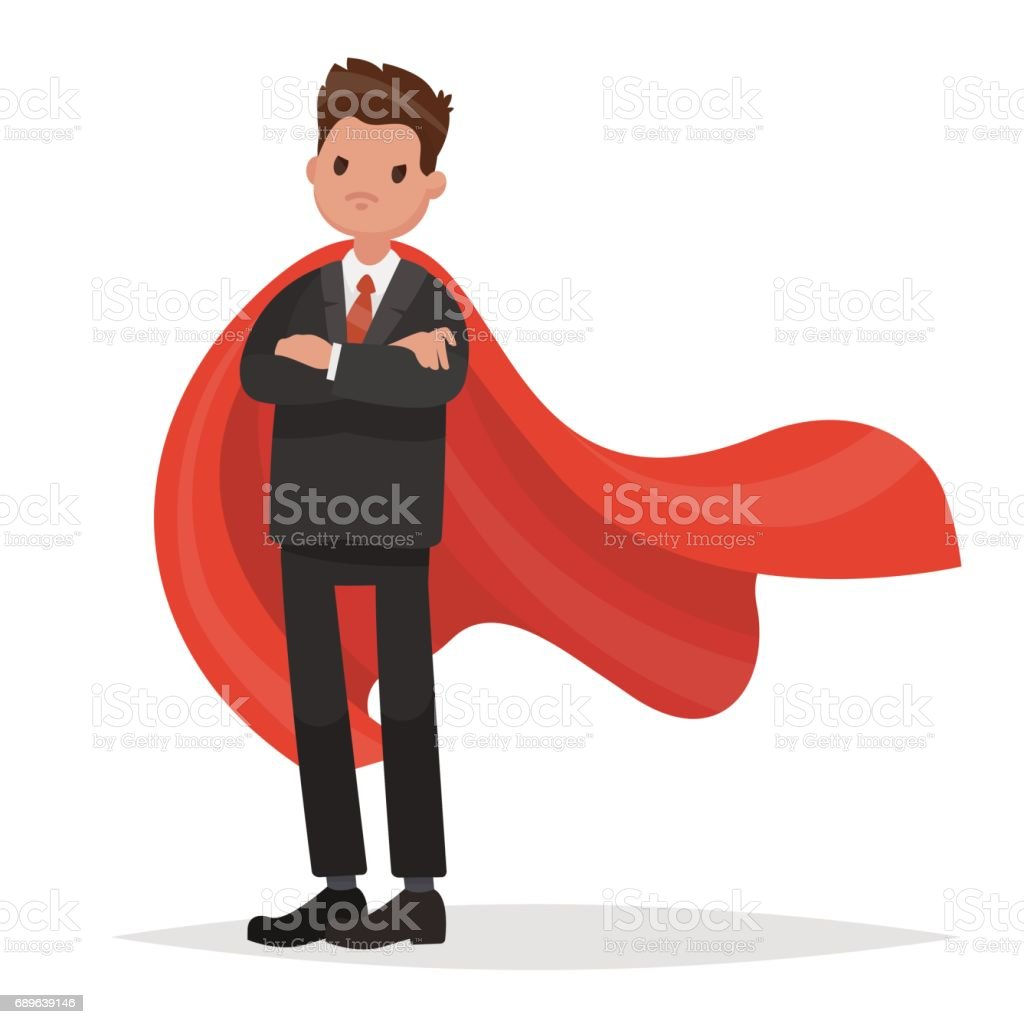 Businessman in a red cloak. Superhero of business. Vector illustration in a flat style vector art illustration