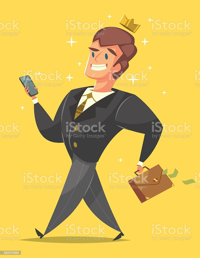 Businessman in a suit is walking like a king vector art illustration