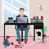 istock Businessman in a suit jacket and pajama bottoms working from home and his little son playing on the floor. Covid or coronavirus quarantine concept, self isolation. Vector illustration 1213904707
