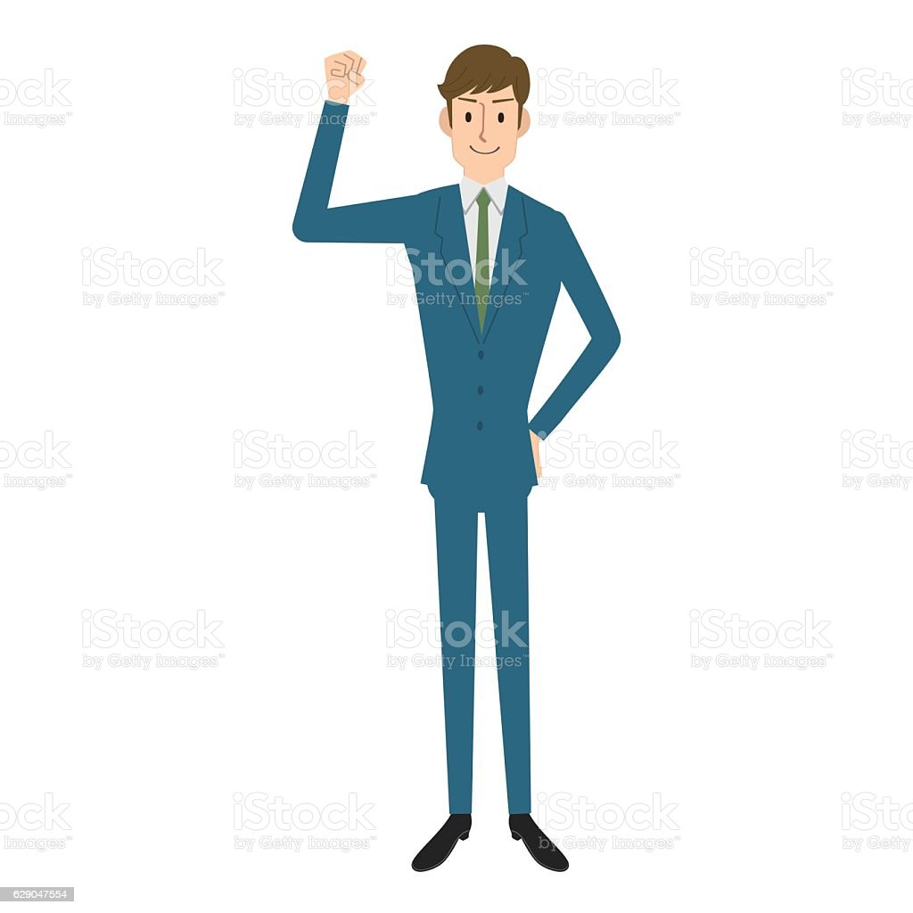 Businessman in a victory pose vector art illustration