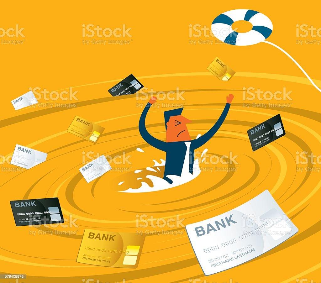 Businessman in a whirlpool vector art illustration