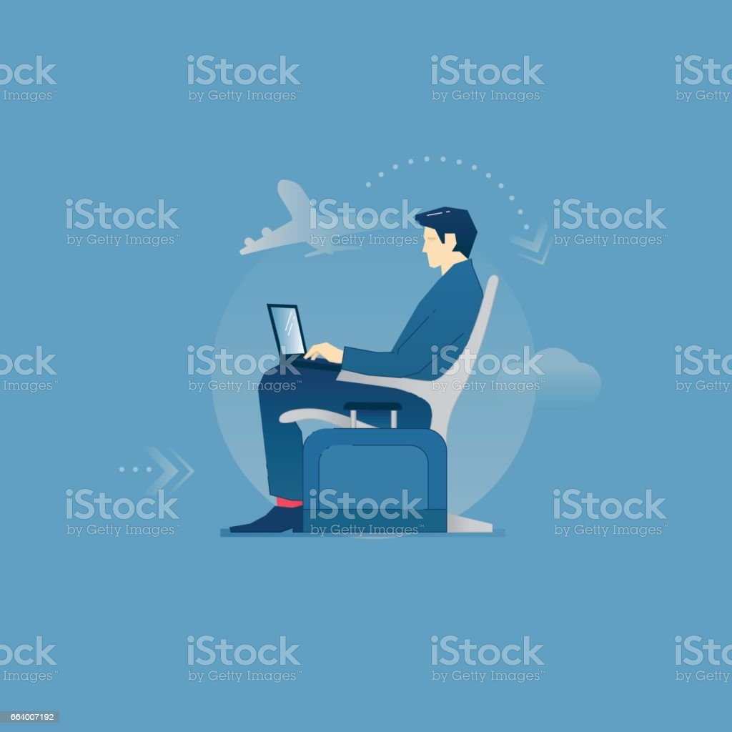 Businessman in an airport lounge vector art illustration