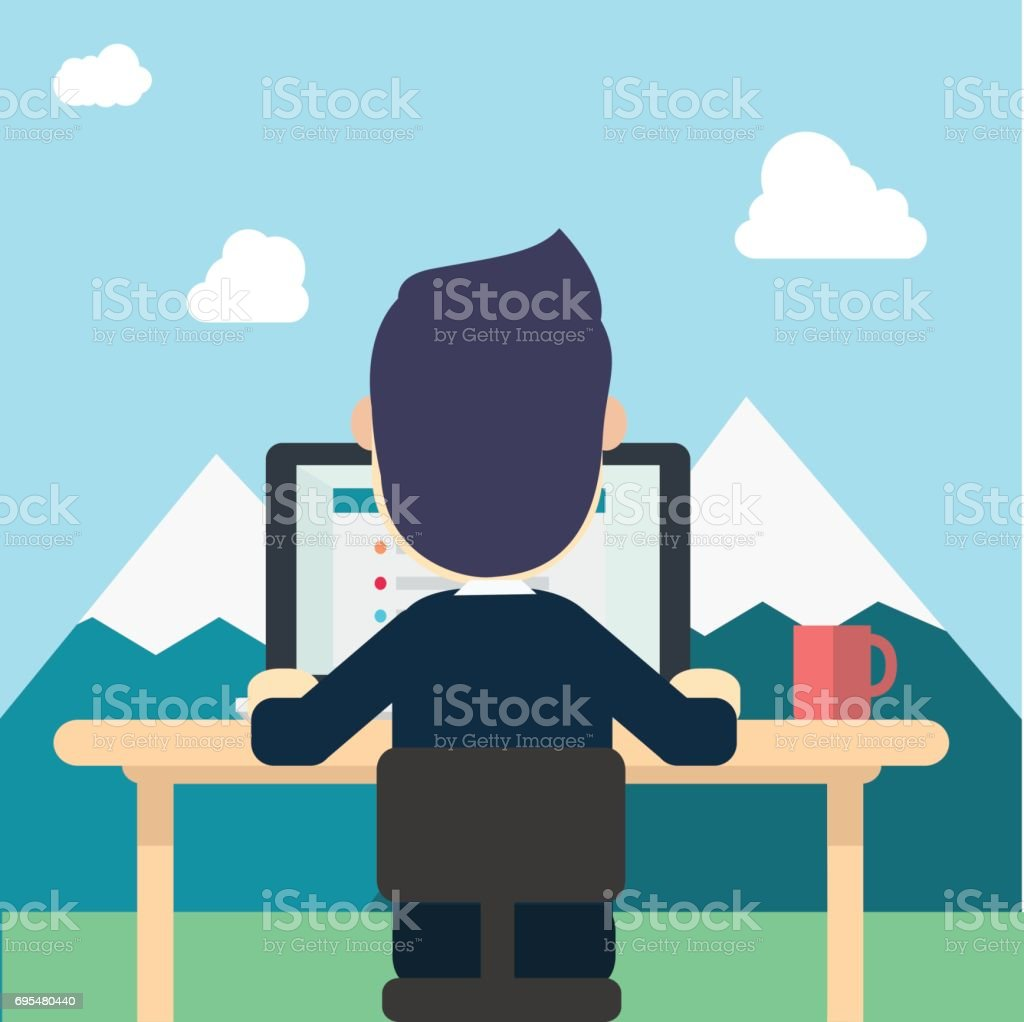 Businessman in back wear suite work around nature with tab work screen on computer,laptop and red cup on table vector illustration man work in nature,mountains,clouds and sky.Concept work to relax. vector art illustration