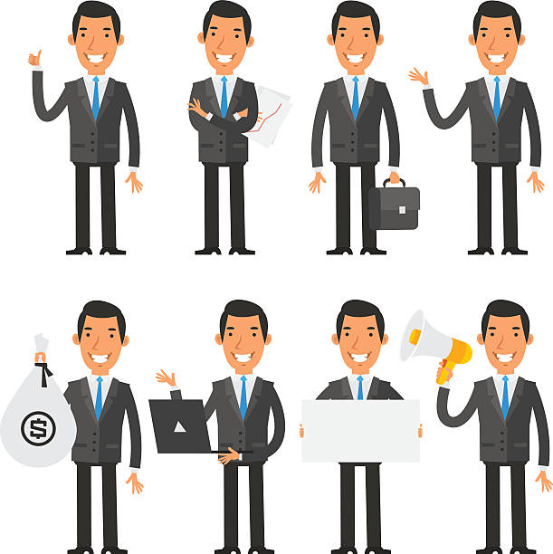 businessman in blue tie in different poses - caricatures stock illustrations, clip art, cartoons, & icons
