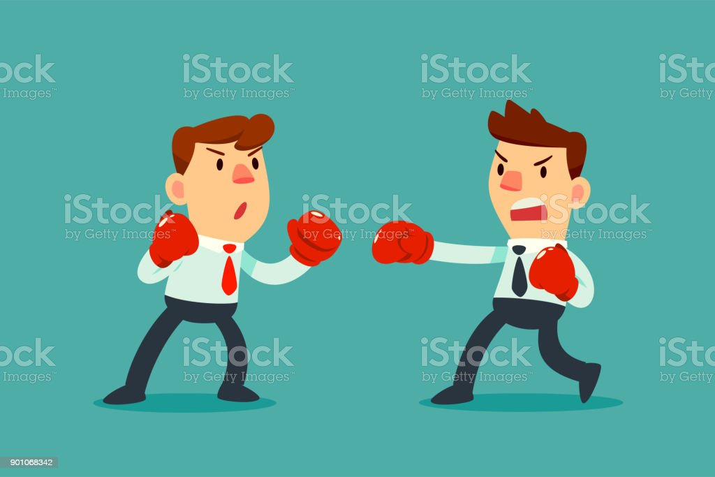 businessman in boxing gloves fighting against another businessman vector art illustration