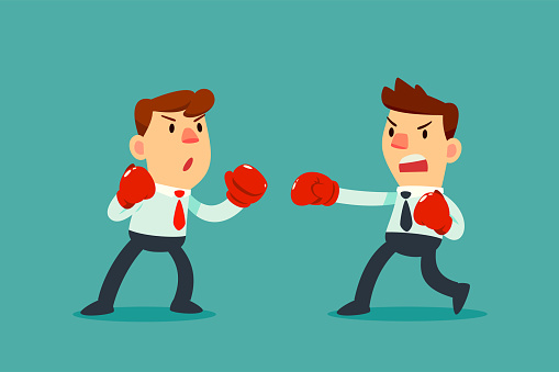Businessman In Boxing Gloves Fighting Against Another ...