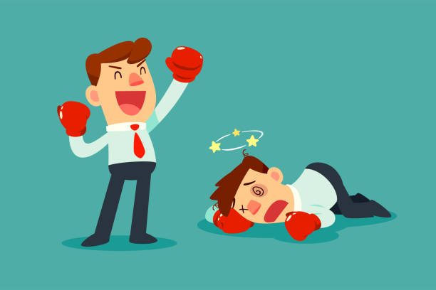 ilustraciones, imágenes clip art, dibujos animados e iconos de stock de empresario en guantes de boxeo ganó la lucha contra el otro empresario - boxeo deporte