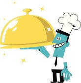 Vector illustration – Businessman in Chef's Hat Serving a Covered Golden Tray.