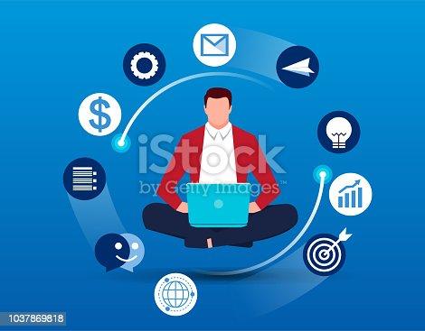 Businessman in cross-legged meditation