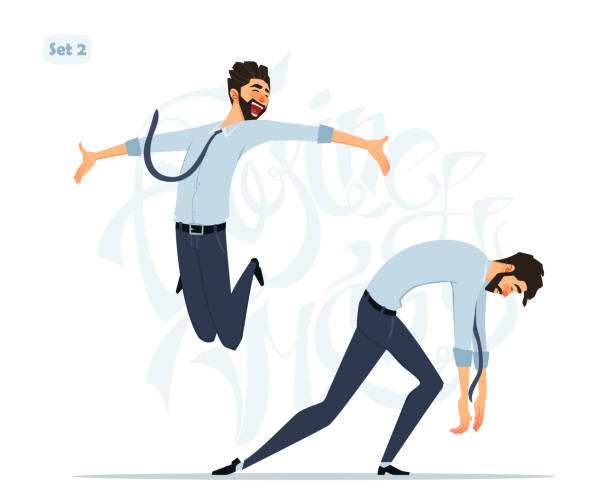 businessman in different emotions and expressions. businessperson in casual office look. - cheerful stock illustrations