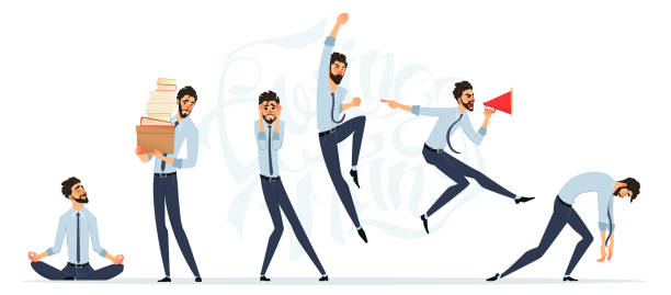illustrazioni stock, clip art, cartoni animati e icone di tendenza di businessman in different emotions and expressions. businessperson in casual office look. different poses for animation - uomo stanco