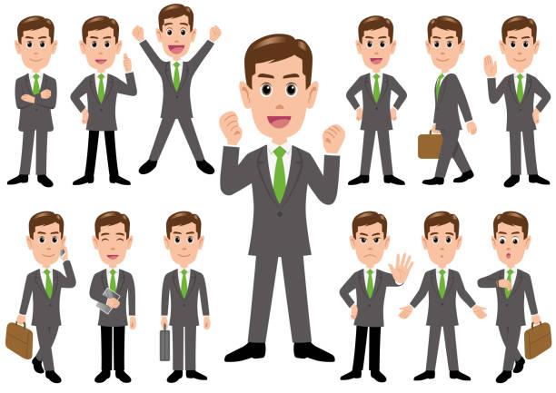 ilustraciones, imágenes clip art, dibujos animados e iconos de stock de empresario en diferentes poses aisladas sobre fondo blanco. - cabello castaño