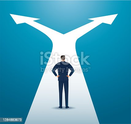 istock businessman in doubt, man in suit choosing between two different choices. vector illustration 1284883673