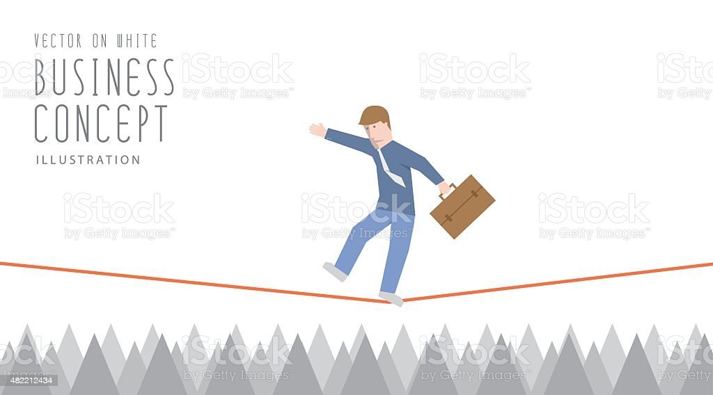Businessman in equilibrium on a rope over sharp thorns. vector art illustration