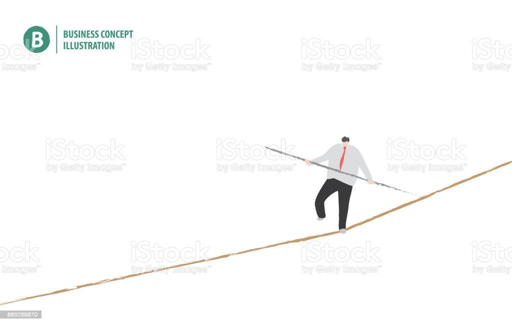 生意人在平衡在繩子在白色背景例證傳染媒介。經營理念。向量藝術插圖