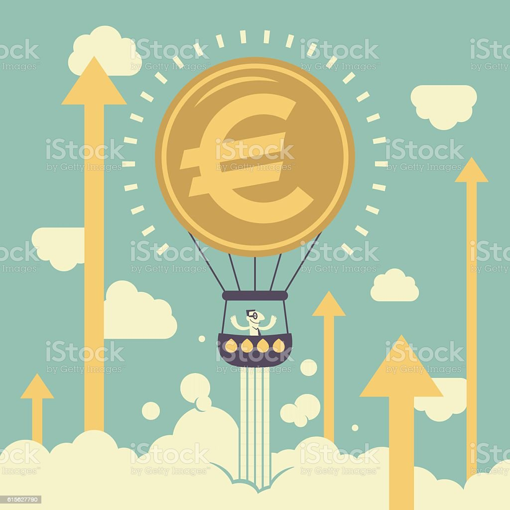 Businessman in Euro sign hot air balloon and Up Arrow vector art illustration