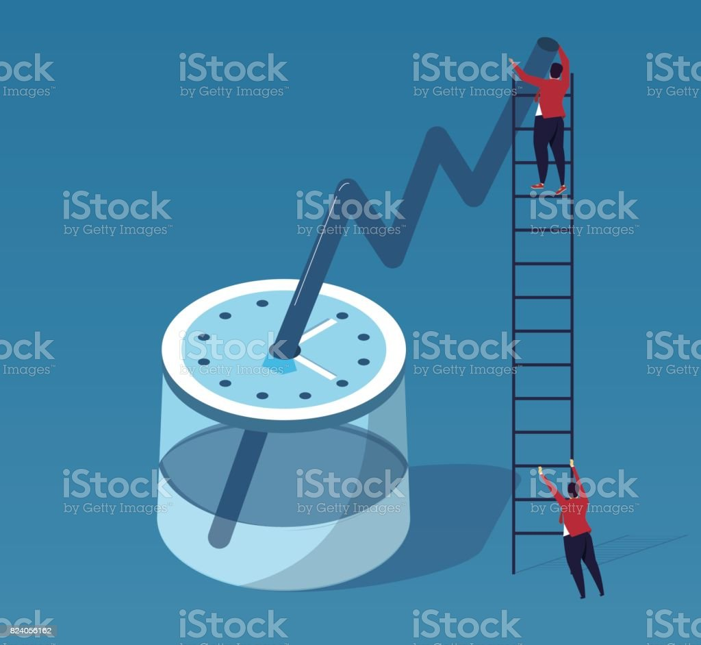 Businessman in exchange for performance by time vector art illustration