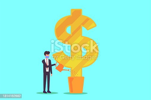 istock Businessman in face mask watering money tree 1314152552