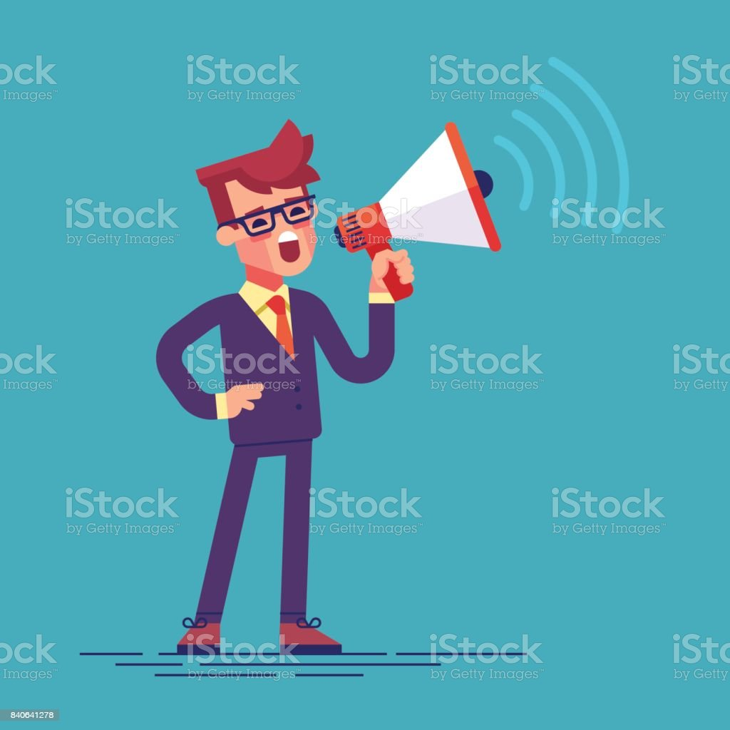 A businessman in formal suit holding megaphone and shouting to it. Cartoon character - manager with bullhorn. Business concept. Vector flat design illustration. vector art illustration