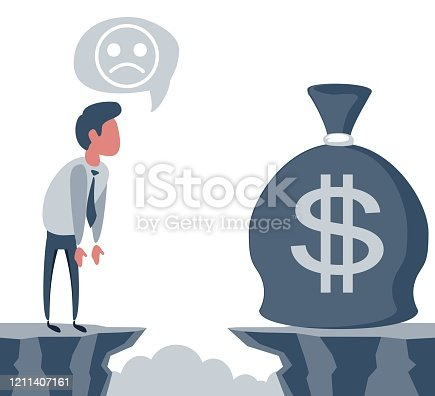 Businessman in front of a gap and looking for the money bag. Goal achievement concept. Vector illustration. Flat design.
