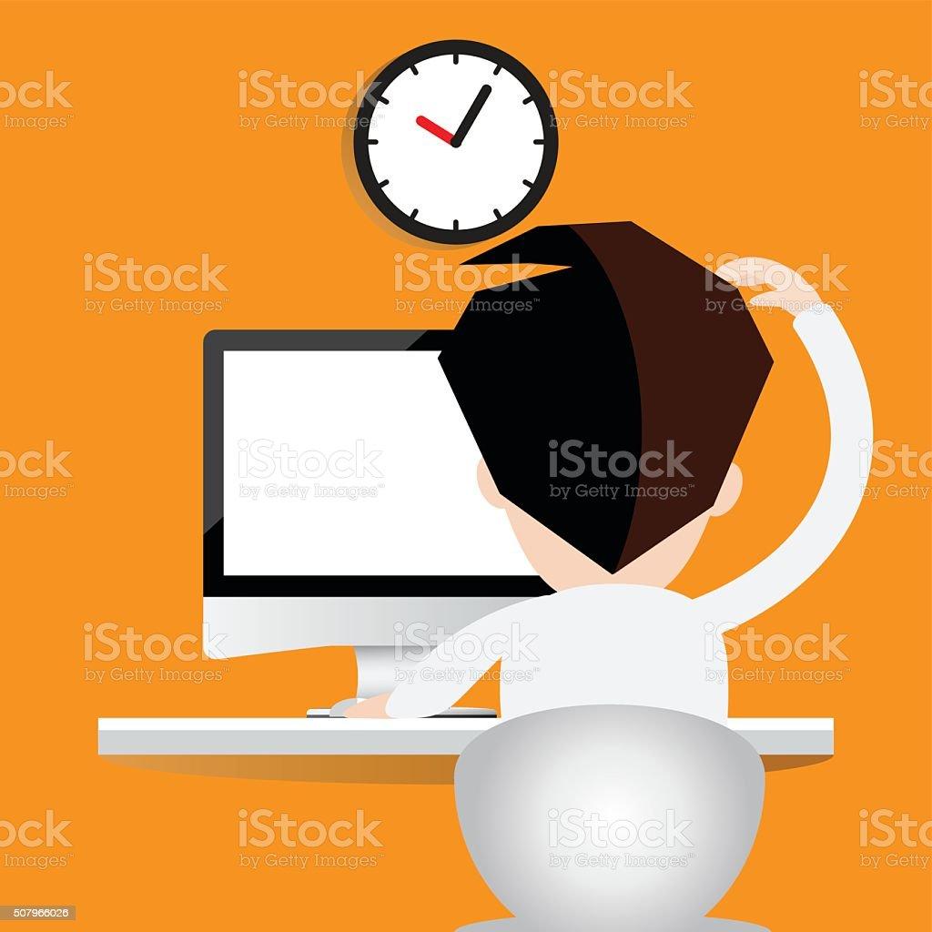 ฺBusinessman in front of computer vector. vector art illustration