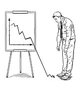 businessman in front of flipchart is sad and helpless because corporate data are so bad