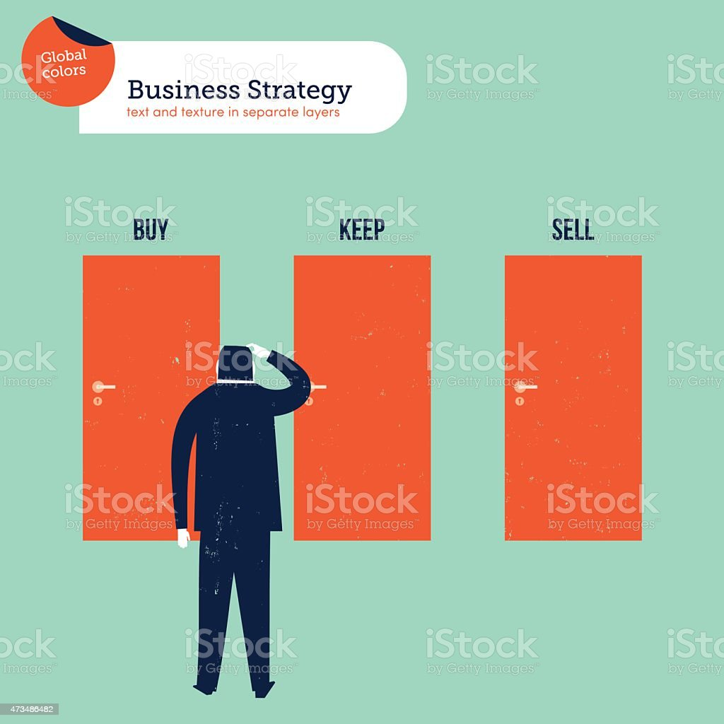 Businessman in front of three doors buy sell keep vector art illustration