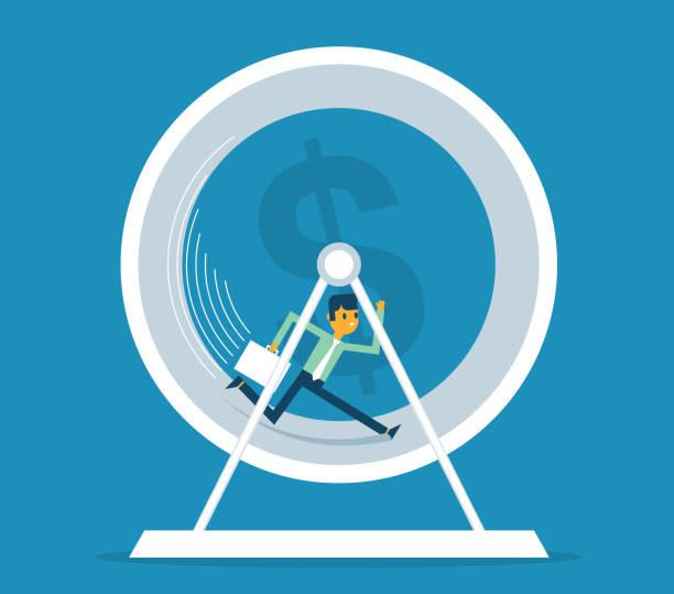 Businessman in Hamster Wheel vector art illustration