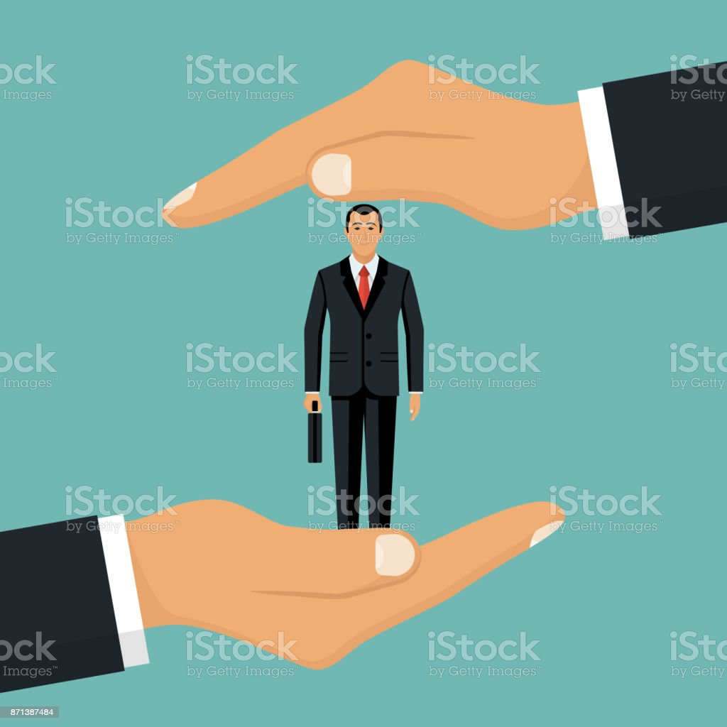 Businessman in hands palm holds client. vector art illustration