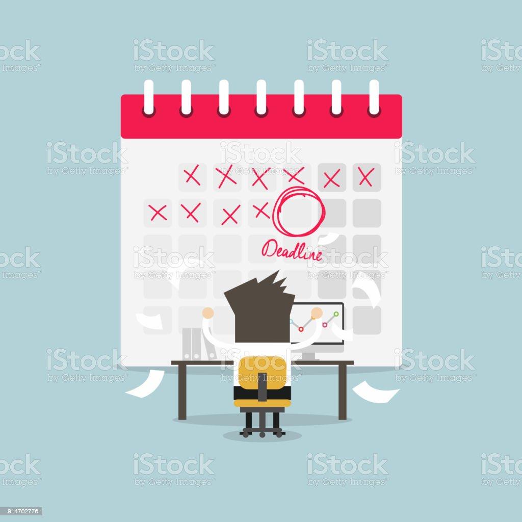 Marca Calendario.Ilustracion De Empresario De Trabajo Con Plazo De Marca Del