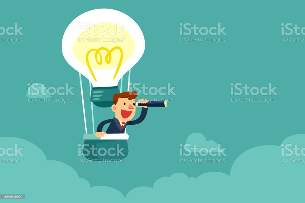 businessman in hot air balloon searching for opportunity vector art illustration