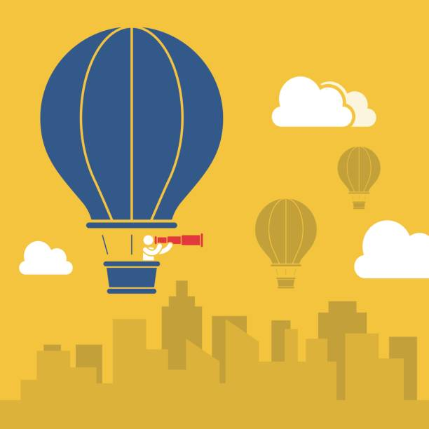 businessman in hot air balloon - hot air balloon stock illustrations