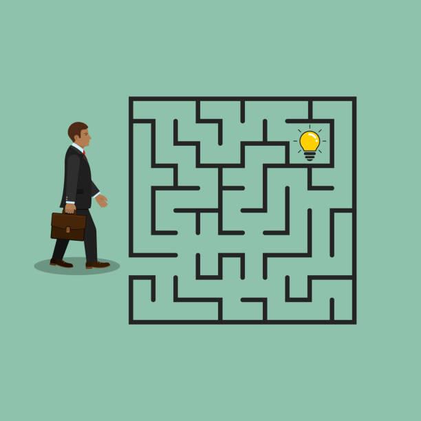 geschäftsmann im labyrinth suche idee glühbirne, vektor. - schlüsselfertig stock-grafiken, -clipart, -cartoons und -symbole