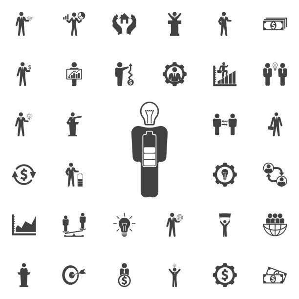 Businessman in low power icon. Businessman in low power icon. Business icons mental burnout stock illustrations
