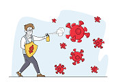Businessman Character in Medic Mask with Shield and Spray in Attempt to Fight with Huge Covid 19 Virus Cells. Coronavirus Pandemic Challenge, Corporate and Business Crisis. Linear Vector Illustration