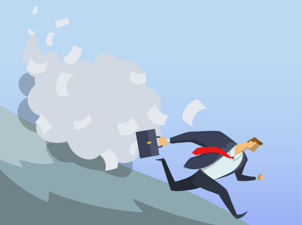 Businessman in office suit running fast down the hill. Anticrisis managements. Urgent measures. Clerical troubles. Race for success. Hurry up. Concept flat vector illustration. Horizontal. Businessman in office suit running fast down the hill. Anticrisis management. Urgent measures. Clerical avalanche. Race for success. Hurry up. Concept flat vector illustration. Horizontal. avalanche stock illustrations