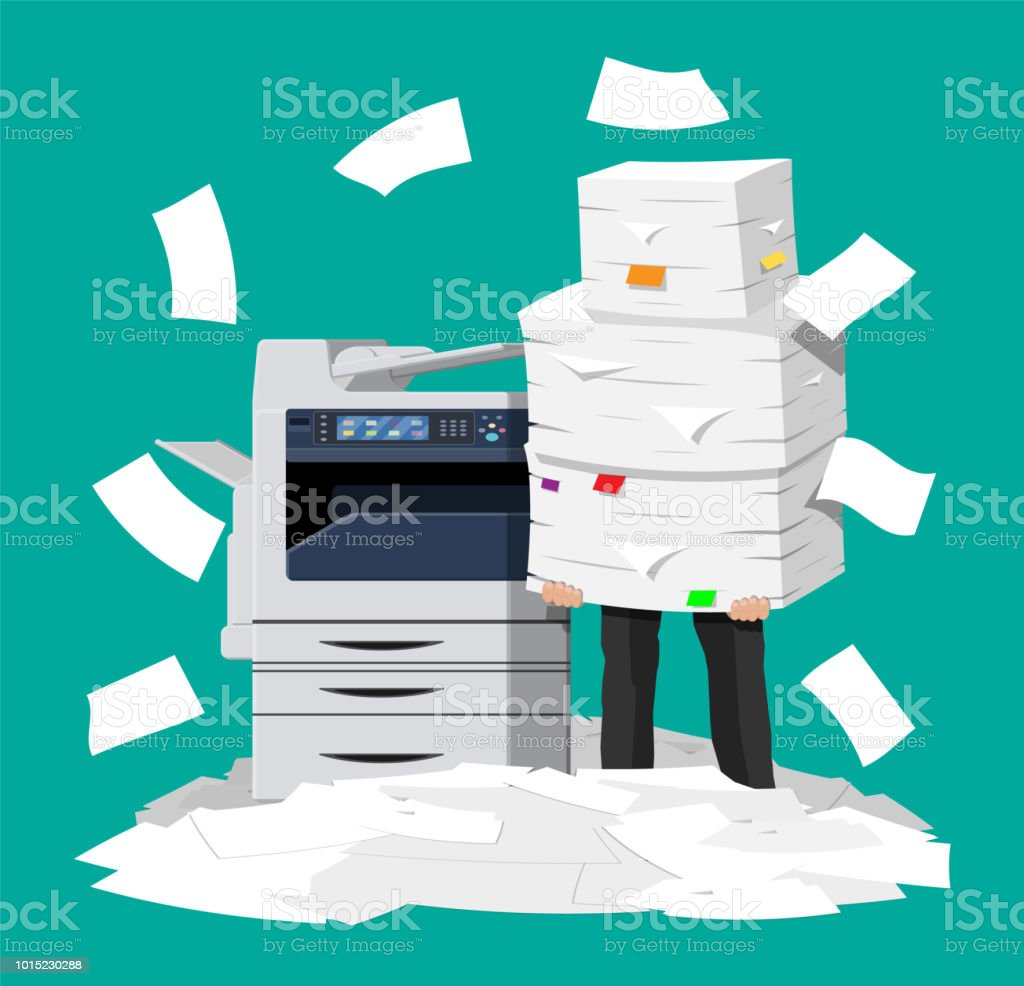Businessman in pile of office papers and printer vector art illustration
