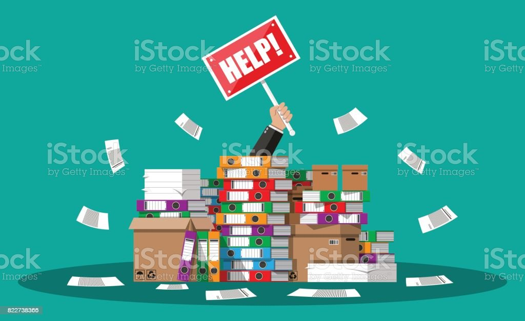Businessman in pile of office papers vector art illustration