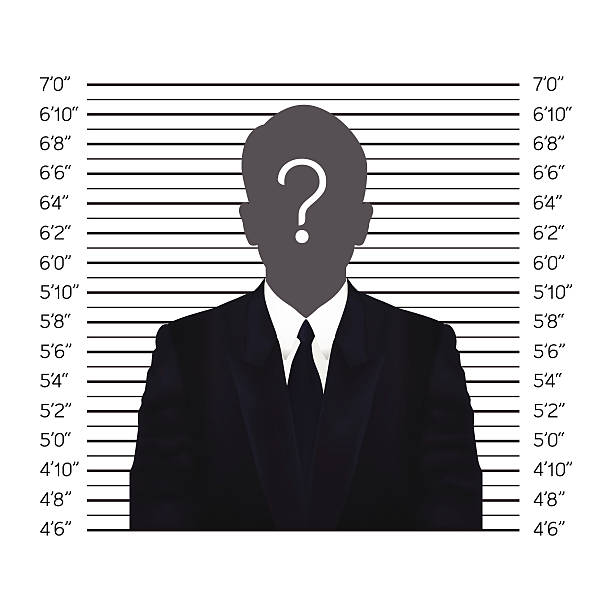 Businessman in police lineup backdrop, illustration, vector Businessman in police lineup backdrop, illustration, vector. police line up stock illustrations