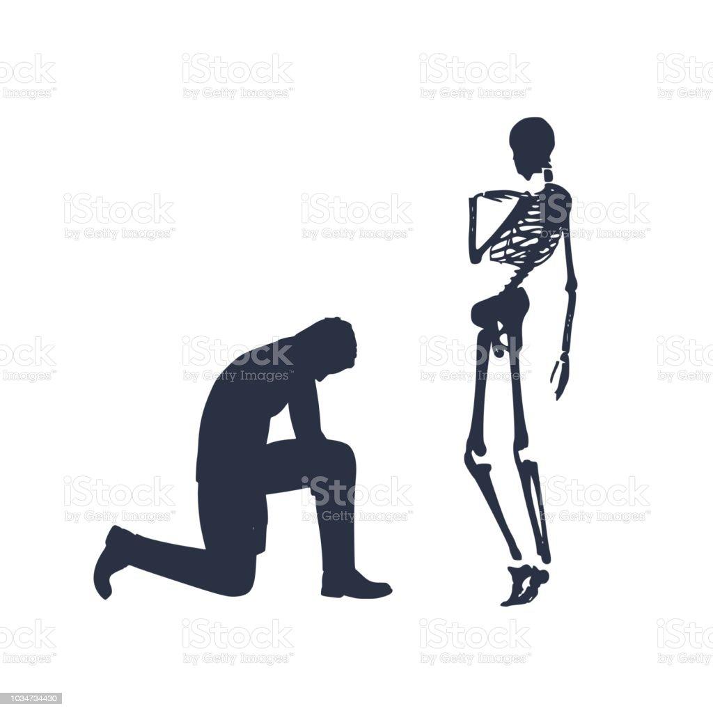 Businessman In Prayer Pose Stock Illustration - Download