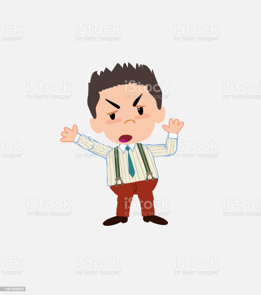 Businessman in smart casual style argues something with a gesture of discontent. vector art illustration