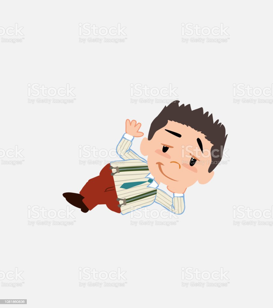 Businessman in smart casual style lying, greets with a dreamy expression. vector art illustration